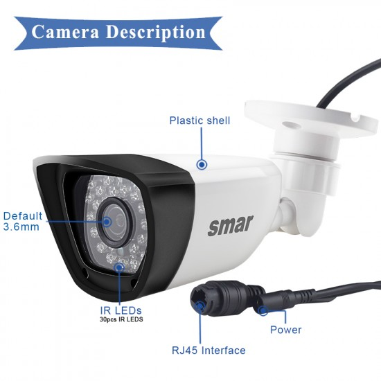 Smar H.265 POE 2MP IP Camera Outdoor Waterproof CCTV 1080P 20fps HD 720P H.264 Network Bullet Camera 2.8mm Wide Lens P2P Onvif
