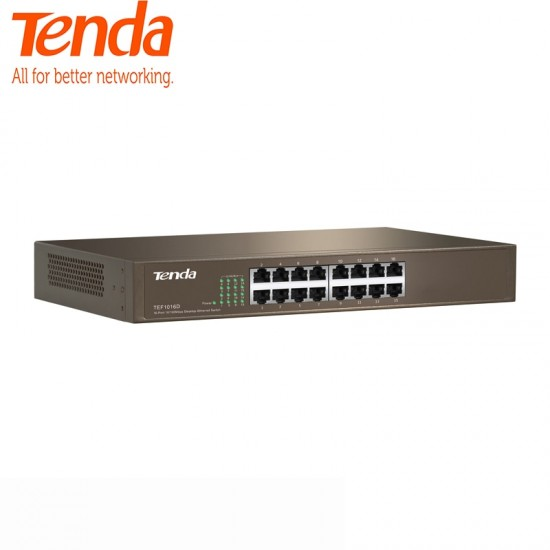 Tenda TEF1016D 16 Port 10/100M 3.2Gbps, Auto MDI/MDI-X, Half/Full DuplexFast Enternet Network Switch